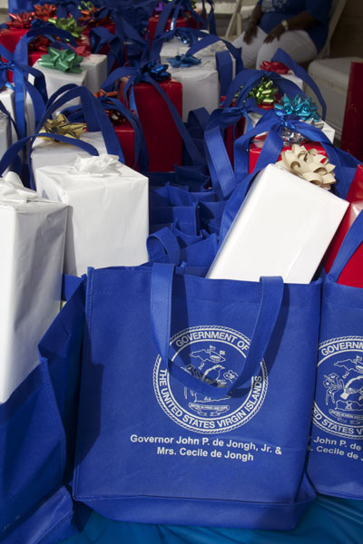 "Gifts everywhere!! For the children of the U.S. Virgin Islands. Each bag included ""The Lesson Box"" as the feature book of the year."