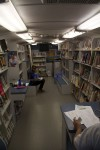 Inside St. Thomas' Bookmobile.