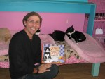 A Very Smart Cat's author Mario Picayo with his creation, and friends.