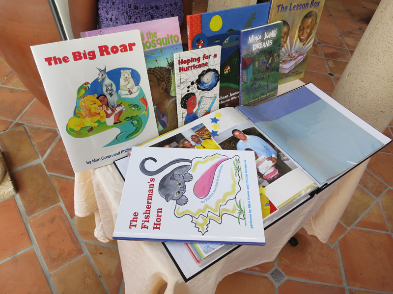A display of all the books produced by Little Bell Caribbean for the Literacy Initiative.