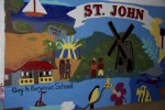 The beautiful mural that greets visitors to Guy H. Benjamin School on St John.