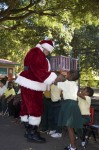 Santa greets children at the Guy H. Benjamin School on St John.