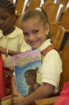 Big smile for a big book. Pearl B. Larsen Elementary School, St Croix.