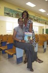 "Teachers pose with ""Ea and the Mosquito"" Pearl B. Larsen Elementary School, St Croix."
