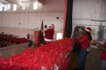 Hundreds of gifts wait for the children to enter the auditorium. Juanita Gardine Elementary School, St. Croix.