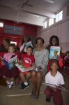 "Author of ""Efa and the Mosquito"", Alscess Lewis-Brown with new fans. Juanita Gardine Elementary School, St. Croix"